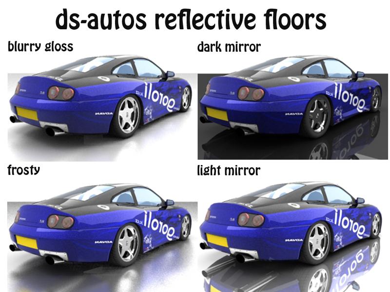 4 druhy povrchů - lesklý povrch (blurry gloss), ledový mrazivý povrch (frosty), tmavé zrcadlo (dark mirror) a světlé zrcadlo (light mirror)