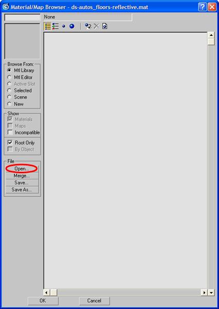 """Změna povrchu podlahy - postup č.7 - Opět po levé straně je rámeček s označením ,,File"""". Uvnitř rámečku je tlačítko ,,Open"""" (označeno červenou elipsou), na které klikněte."""