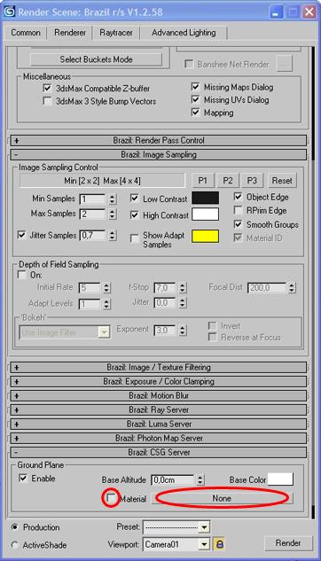 """Změna povrchu podlahy - postup č.5 - Zaškrtněte checkbox (v červeném kroužku) u textu ,,Material"""" a pak klikněte na obdélníkové tlačítko (v červené elipse) s nápisem ,,None"""". Vyskočí nové okno."""