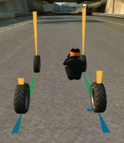 Perfekte Einstellung der Bremskraft, die Räder befinden sich kurz vor dem Blockieren